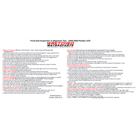 Techsheet: Front End Inspection & Alignment Tips -2004-2006 Pontiac GTO - BETA