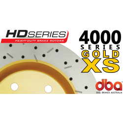 DBA42020XS 4000 Series Slotted and Drilled Front Rotors Gold GTO 05