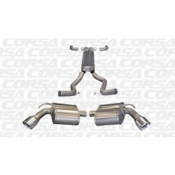 Camaro Corsa 14964 2.5in Sport Cat-Back + XO Dual Rear Exit w/Single 4.0in Polished Pro-Series Tips