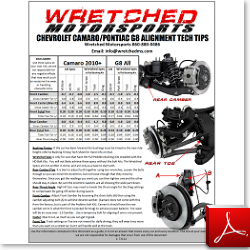 Techsheet: Camaro/G8 Alignment