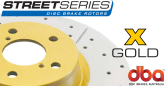 DBA040X Street Series Slotted and Drilled Front Rotors Gold GTO 04