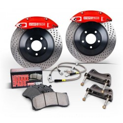 Stoptech Front Touring BBK w/ Black ST-60 Calipers Slotted 360x32mm Rotors Pads SS Lines
